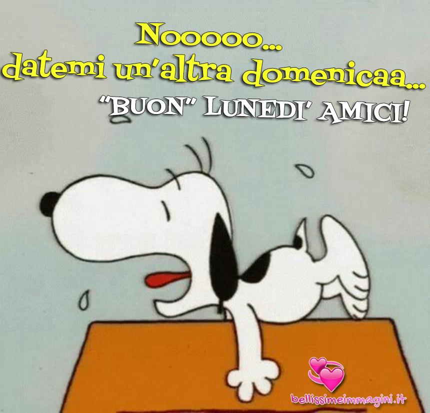 Immagini Buongiorno Buon Lunedì buffe simpatiche con Snoopy